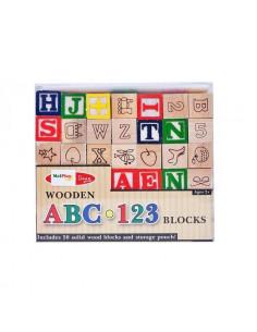 Cuburi din lemn MalPlay cu litere,cifre si diferite simboluri