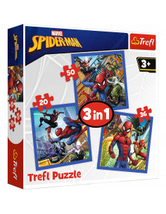 Set puzzle 3 in 1 Trefl Marvel Spider Man, Forta paianjenului