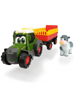Tractor Dickie Toys Happy Fendt Animal Trailer cu remorca si