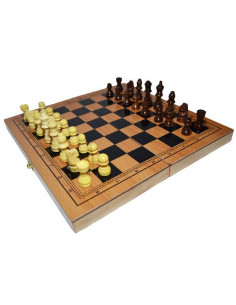 Joc 3 In 1 Sah, Table, Dame, 29x15 Cm, Cutie Lemn