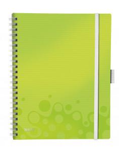 Caiet de birou LEITZ Wow Be Mobile, PP, A4, cu spira, matematica, verde metalizat