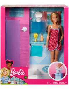 Barbie Set Baie Cu Dus Si Papusa Blonda