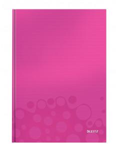 Caiet de birou LEITZ Wow, A4, coperta dura, dictando, roz