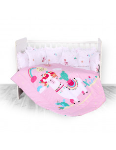 Set lenjerie 8 piese cu protectii laterale, Happy Lama Pink