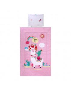 Set de lenjerie pat 3 piese, Happy Lama Pink