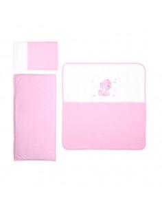 Set lenjerie de vara pentru carucior ZaZa, Pink