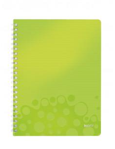 Caiet de birou LEITZ Wow, PP, A4, cu spira, dictando, verde