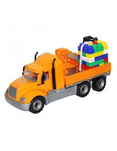 Camion Mike Wader Cu Macara Si Palet Cuburi, 53 Cm