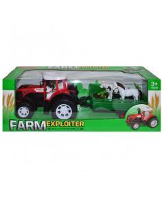 Tractor Fermier Cu Remorca Si 2 Animale, 54 Cm