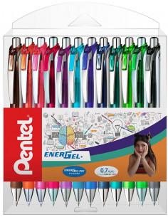 Roller cu gel Energel Pentel, 0.7 mm, cu mecanism, 10 culori/set