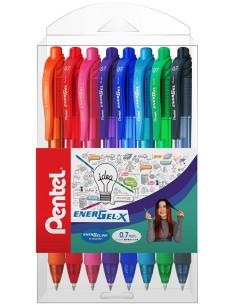 Roller cu gel Energel X Pentel, 0.7 mm, cu mecanism, 6 culori/set