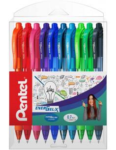 Roller cu gel Energel X Pentel, 0.7 mm, cu mecanism, 8 culori/set