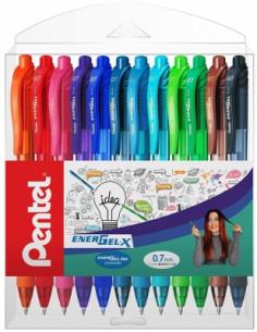 Roller cu gel Energel X Pentel, 0.7 mm, cu mecanism, 12 culori/set