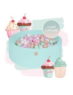 Piscina uscata cu 250 de bile 7 cm MeowBaby®, alb, mint, beige, roz pastel si transparent, Cupcake Set, 90x30 cm, Mint