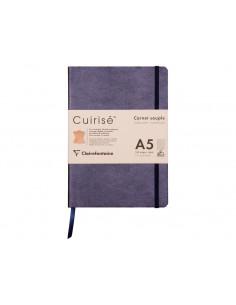 Notebook cu copertă moale din piele Cuirise, A5, Clairefontaine, 72 file, Mov