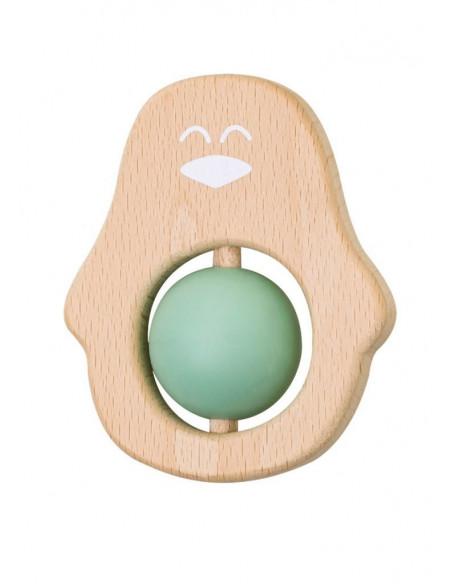 Jucarie naturala pentru dentitie Pinguin Verde