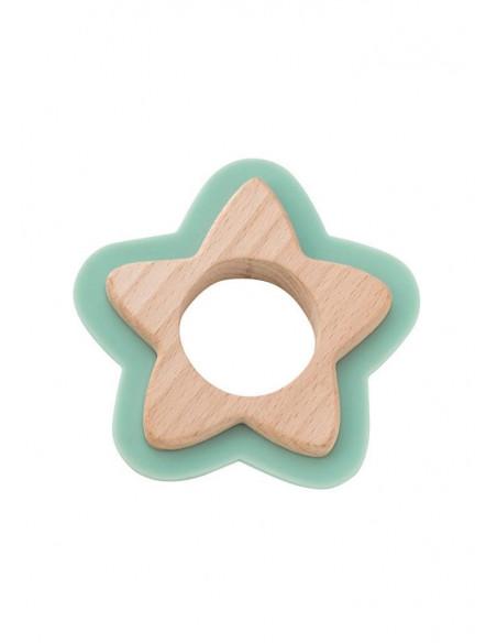 Jucarie naturala pentru dentitie Star Verde