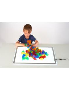 Cuburi de constructii transparente, set de 90 piese, multicolor