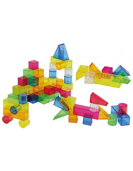 Set de 50 buc cuburi de constructii COLORATE transparente din