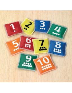 Saculeti boabe de fasole cu numere si buline set de 10