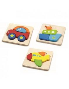 Set de 3 puzzle lemn MIJLOACE DE TRANSPORT