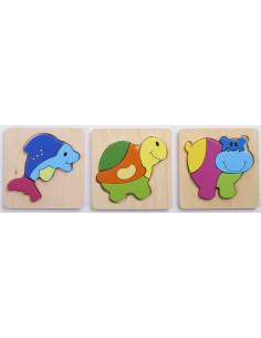 Set de 3 puzzle lemn ANIMALE