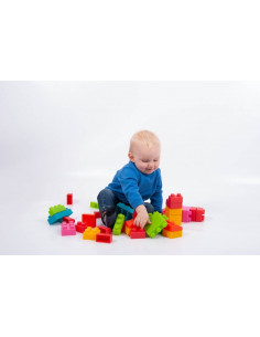 Cuburi de plastic moale, TickiT, set de 45 cuburi, multicolor