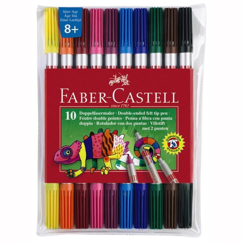 Carioci Faber-Castell, 10 Culori, 2 Capete