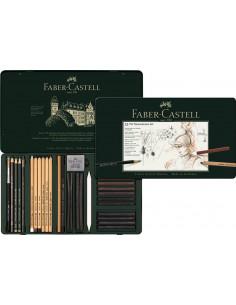 SET PITT MONOCHROME GRAFIT+CARBUNE+PASTEL 33 BUC FABER-CASTELL