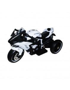 Motocicleta Sport Alba Cu Acumulator Si 2 Motoare, 12V, 4A