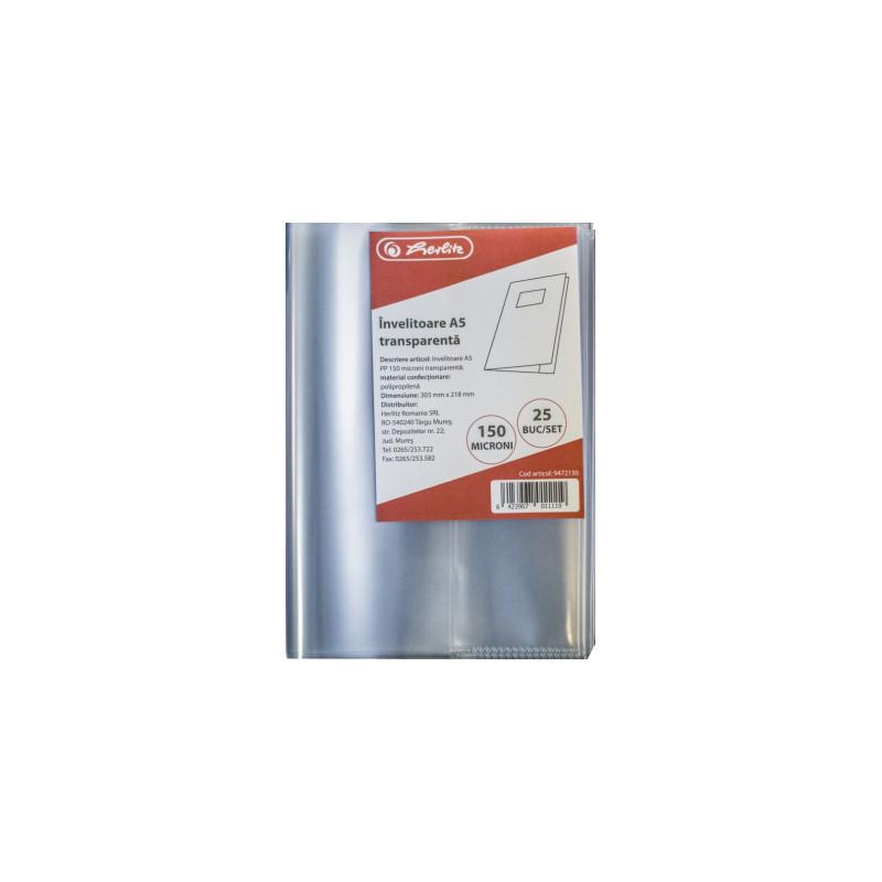Invelitori Herlitz A5 PP, 150 microni, transparent
