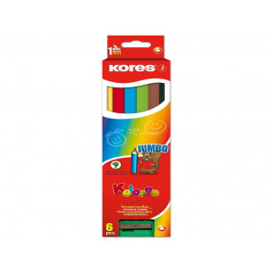 Creioane Colorate Jumbo Kores Triunghiulare , 6 Culori + Ascutitoare