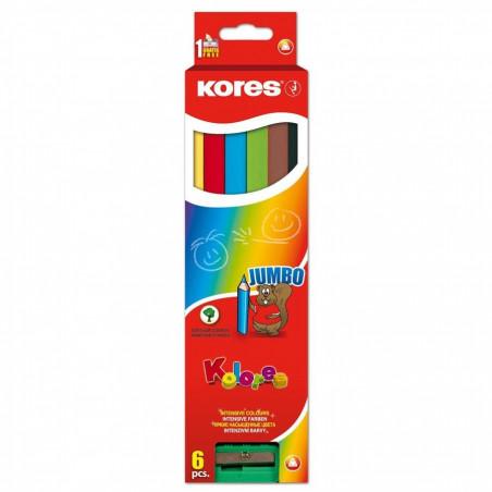 Creioane Colorate Jumbo Kores Triunghiulare, 6 Culori +