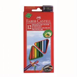 Creioane Colorate Eco Faber-Castell Triunghiulare + Ascutitoare, 12 culori