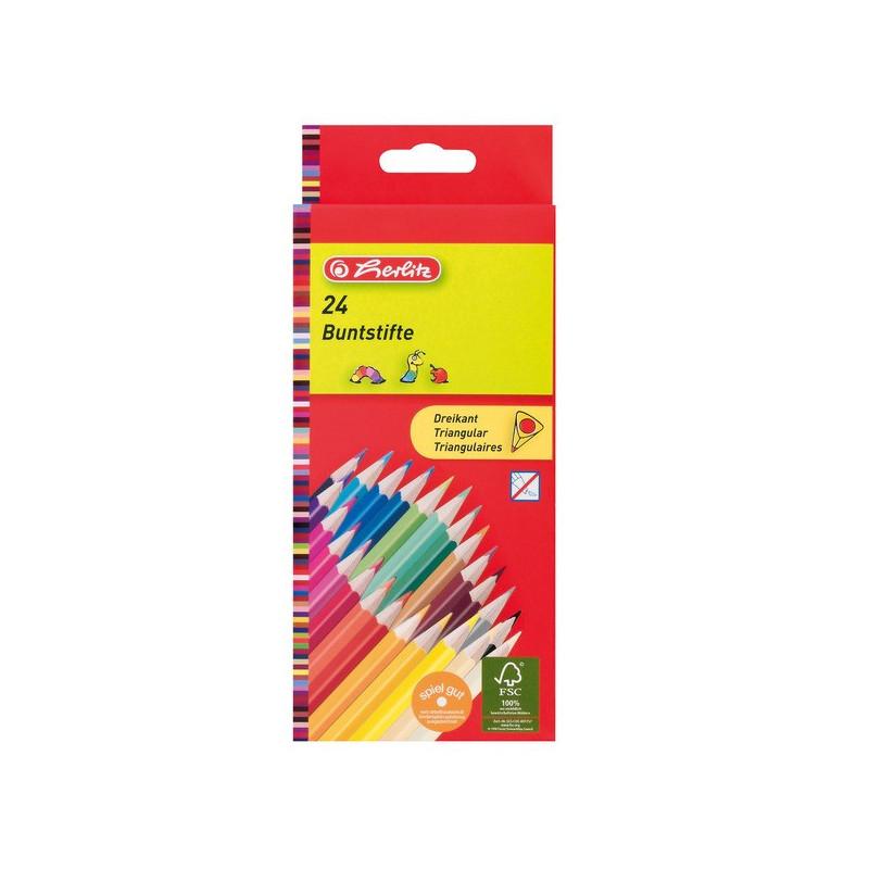 Creioane Colorate Herlitz Triunghiulare, 24 culori