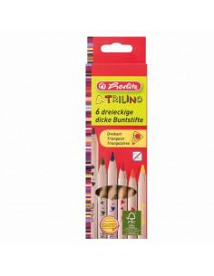 Creioane Colorate Herlitz Triunghiular Trilino, 6 culori