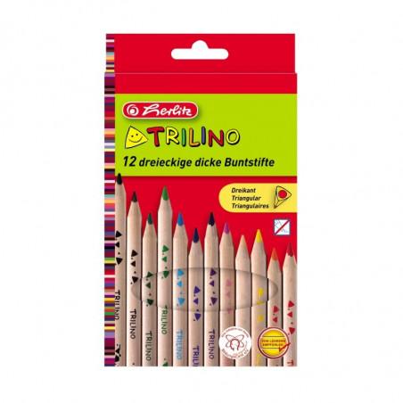 Creioane Colorate Herlitz Triunghiular Trilino, Set 12