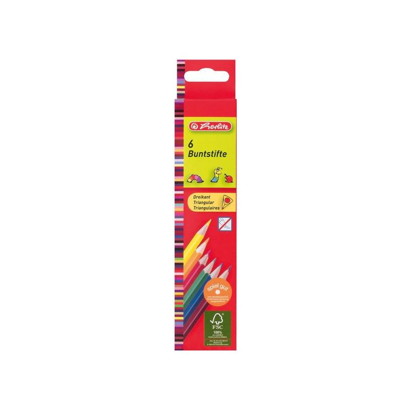 Creioane Colorate Herlitz Triunghiular, Set 6