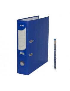 Biblioraft plastifiat Noki, cotor 7.5 cm, albastru, A4 25 buc/cutie + Roller CONE 0.7