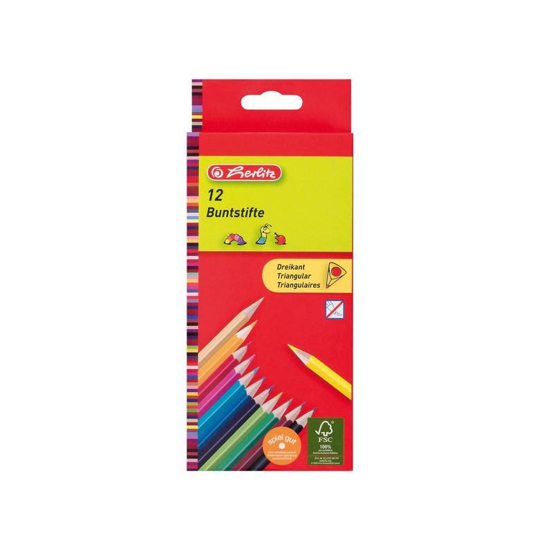 Creioane Colorate Herlitz Triunghiulare 1/1, Set 12