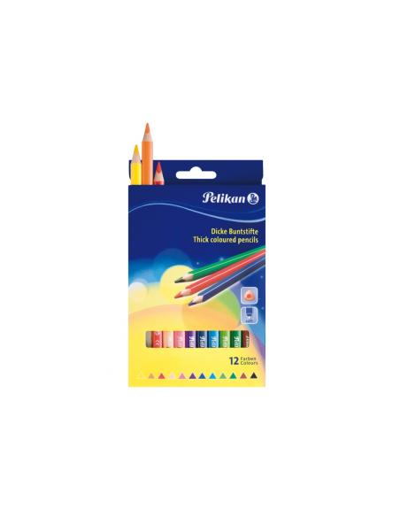 Creioane Colorate Pelikan Triunghiulare Groase, Set 12, Varf 40