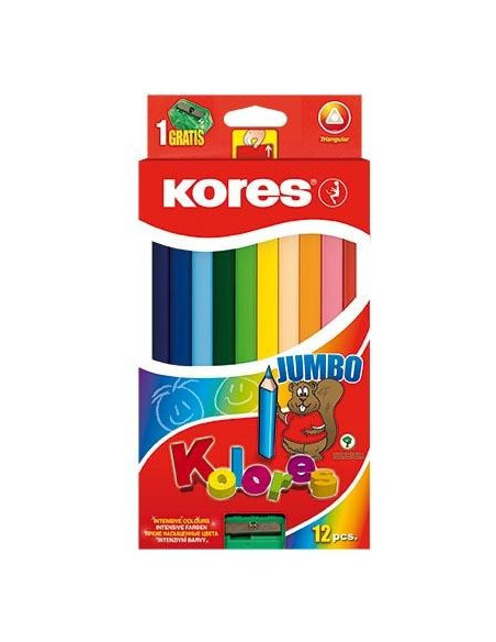 Creioane Colorate Jumbo Kores Triunghiulare, 12 Culori +