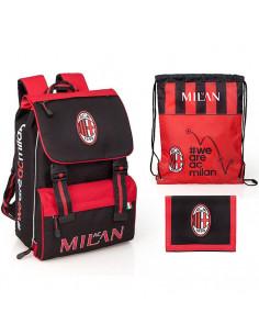 Set scoala AC Milan - Ghiozdan scoala, Sac incaltaminte, Portofel
