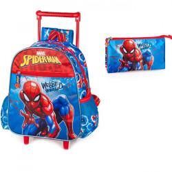 Set gradinita Spiderman - Ghiozdan gradinita tip troller, Penar etui