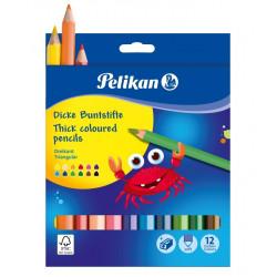 Creioane Color Jumbo Pelikan,  Set 12 Culori + Ascutitoare