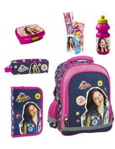 Set scoala Soy Luna - Ghiozdan scoala, Penar, Penar etui, Sticla apa, Cutie alimente, Suport instrumente de scris echipat
