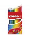 Creioane Colorate Kores Triunghiulare, 36 Culori + Ascutitoare
