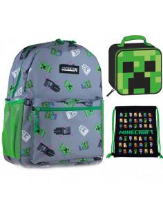 Set scoala Minecraft - Ghiozdan scoala, Geanta Termica si Sac incaltaminte