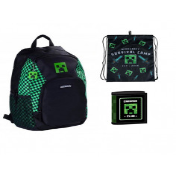 Set scoala Minecraft - Ghiozdan scoala, Sac incaltaminte si Portofel