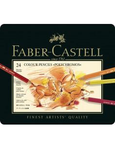 Creioane Colorate Faber-Castell Polychromos, 24 Culori, Cutie Metal